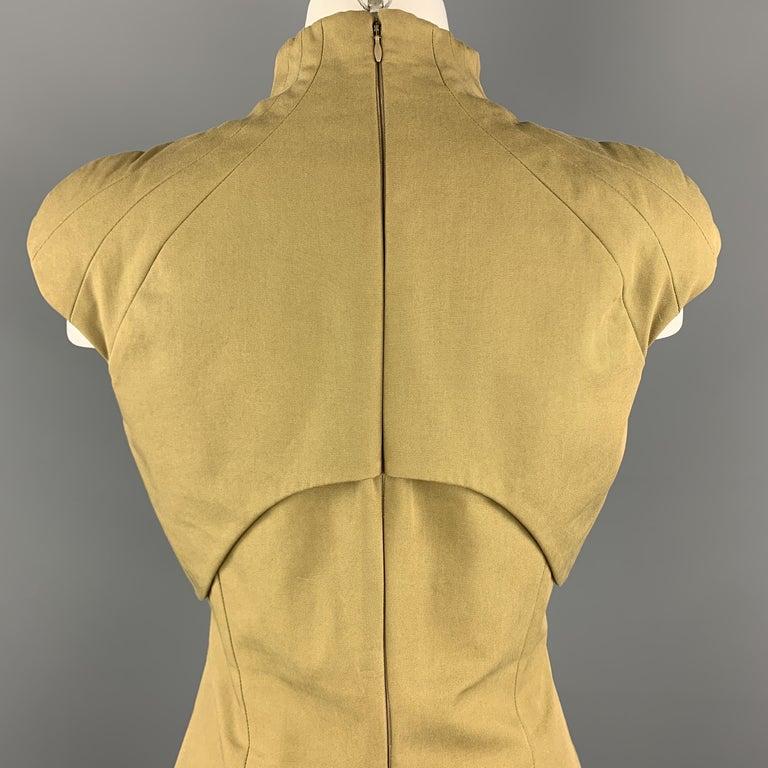 ALEXANDER MCQUEEN Size 6 Khaki Green Cotton Canvas Bolero Dress 1