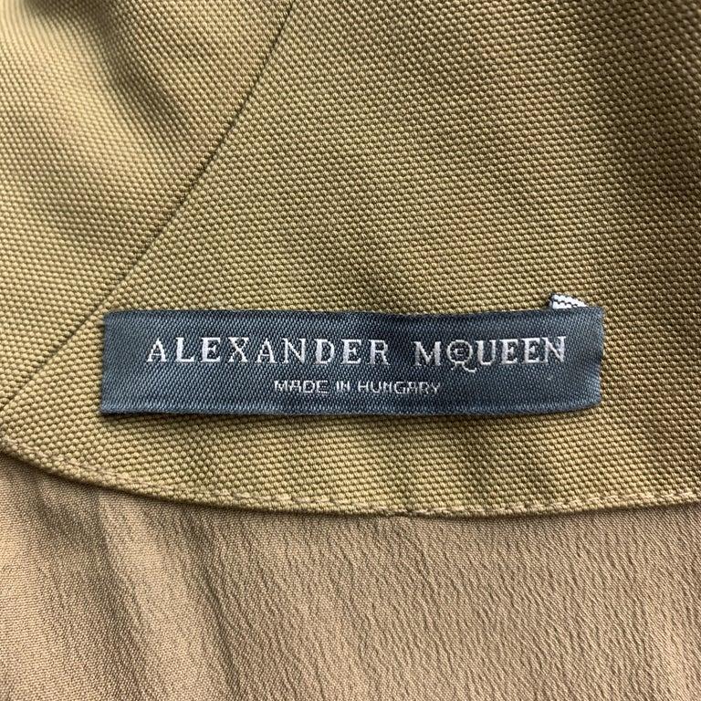 ALEXANDER MCQUEEN Size 6 Khaki Green Cotton Canvas Bolero Dress 2