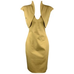 ALEXANDER MCQUEEN Size 6 Khaki Green Cotton Canvas Bolero Dress