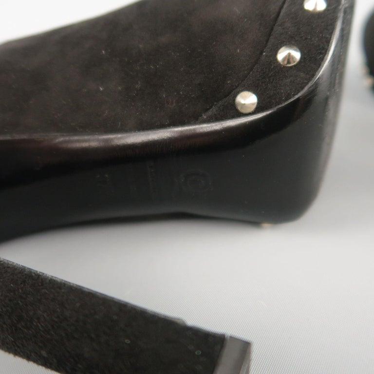 ALEXANDER MCQUEEN Size 7.5 Black Suede Spike Platform Silver Mohawk SKull Pumps For Sale 5