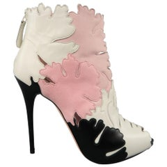 ALEXANDER MCQUEEN Size 8.5 Pink White & Black Leather & Suede Leaf Cutout Boots