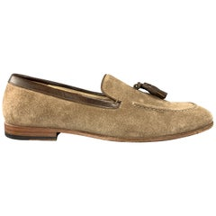 ALEXANDER MCQUEEN Size 9 Tan Suede Slip On Brown Tassel Loafers