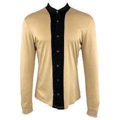 ALEXANDER MCQUEEN Size L Khaki & Black Color Block Cotton Long Sleeve Shirt