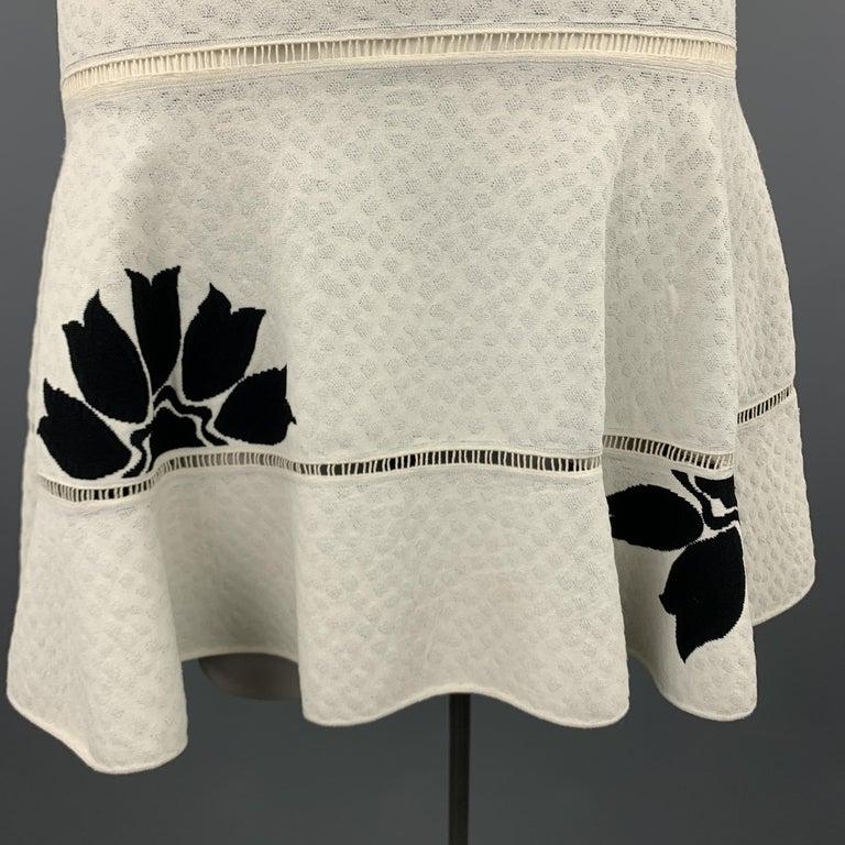 Women's ALEXANDER MCQUEEN Size L White & Black Floral Ruffle Skirt Cocktail Dress For Sale