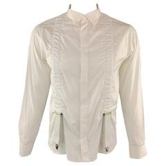 99212ca94c8288 ALEXANDER MCQUEEN Size L White Cotton Tuxedo Suspenders Braces Long Sleeve  Shirt