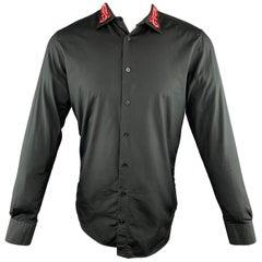 ALEXANDER MCQUEEN Size M Black Embroidery Cotton Button Up Long Sleeve Shirt