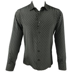 ALEXANDER MCQUEEN Size M Black & White Skulls Silk Button Up Long Sleeve Shirt