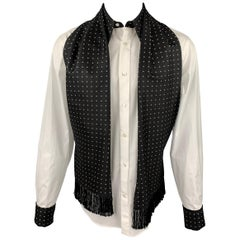 ALEXANDER MCQUEEN Size M White & Black Dots Cotton / Silk Long Sleeve Shirt