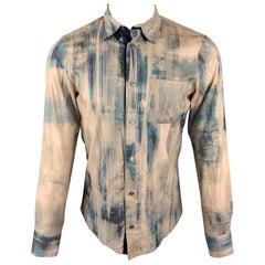 ALEXANDER MCQUEEN Size S Beige & Navy Button Up Long Sleeve Shirt