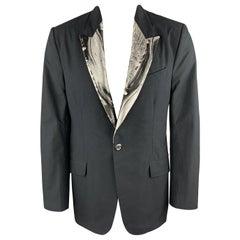 ALEXANDER MCQUEEN Size S Black Metallic Silver Marble Peak Lapel Blazer