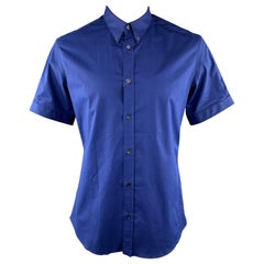 ALEXANDER MCQUEEN Size XL Blue Button Down Short Sleeve Shirt
