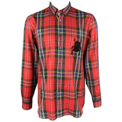 ALEXANDER MCQUEEN Size XL Multi-Color Tartan Cotton Beetle Patch Shirt