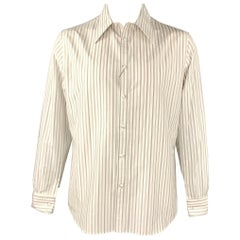 ALEXANDER MCQUEEN Size XL White & Black Vertical Stripe Long Sleeve Shirt