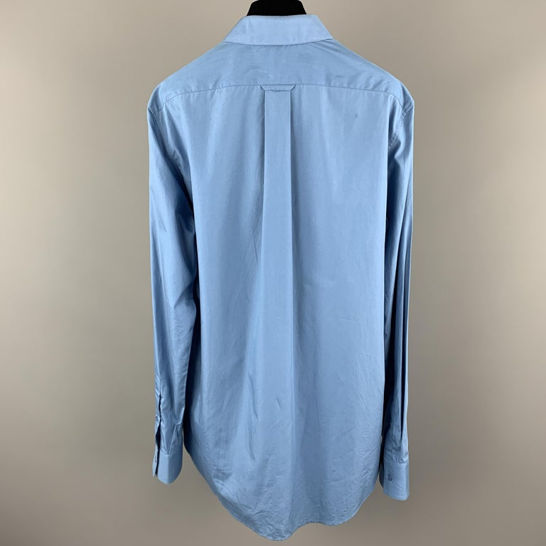 ALEXANDER MCQUEEN Size XS Blue Cotton Long Sleeve Shirt In New Condition For Sale In San Francisco, CA