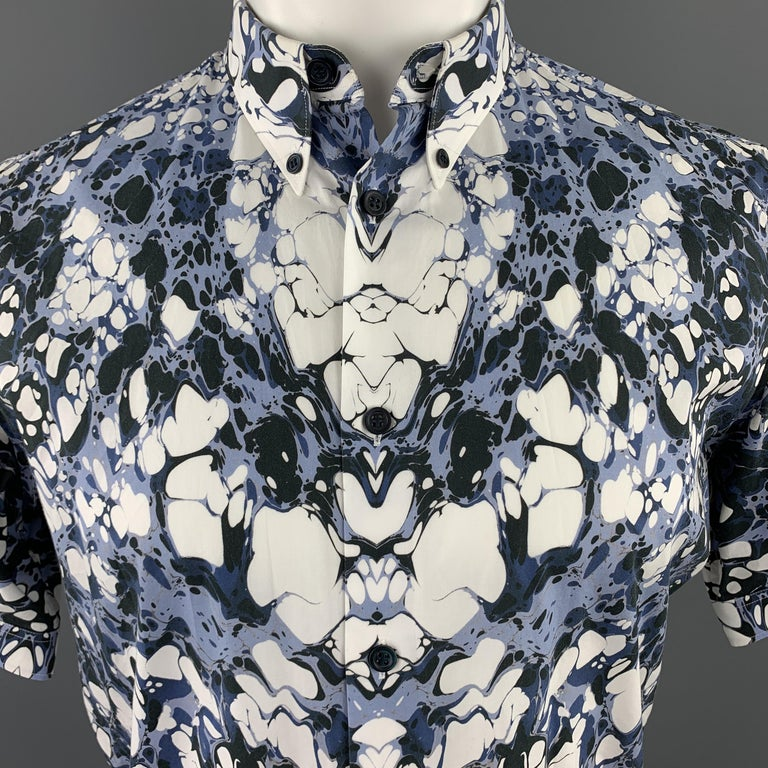 ALEXANDER MCQUEEN shot sleeve shirt comes in white cotton with an all over blue marble print and button down collar.   Excellent Pre-Owned Condition. Marked: IT 46  Measurements:  Shoulder: 17.5 in. Chest: 42.5 in. Sleeve: 8.5 in. Length: 28 in.