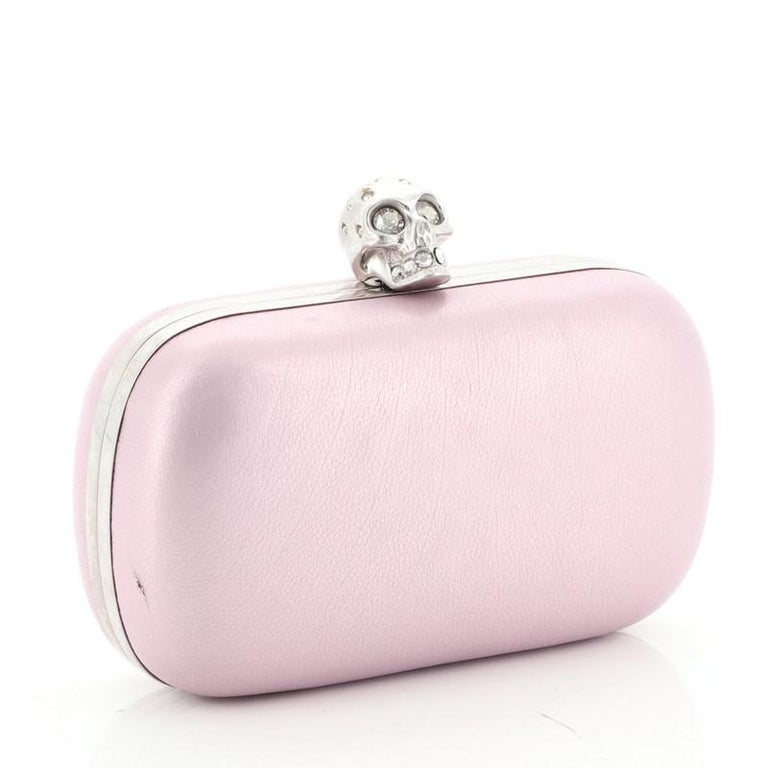 Alexander McQueen Skull Box Clutch Leather Small  In Good Condition For Sale In New York, NY