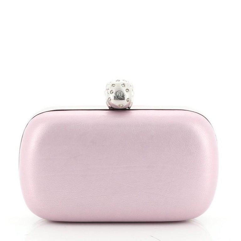 Women's or Men's Alexander McQueen Skull Box Clutch Leather Small  For Sale