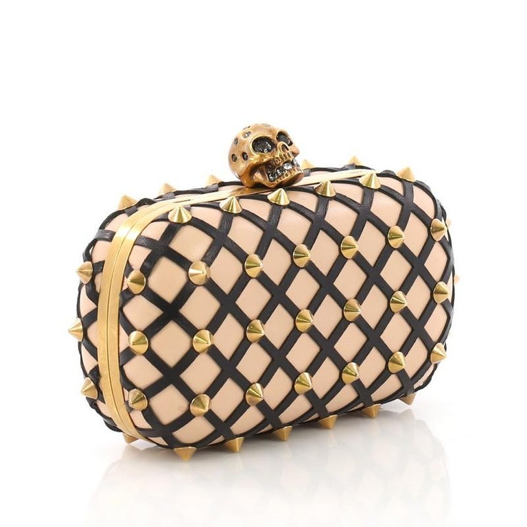 Beige Alexander McQueen Skull Box Clutch Studded Leather Cut Leather Small For Sale