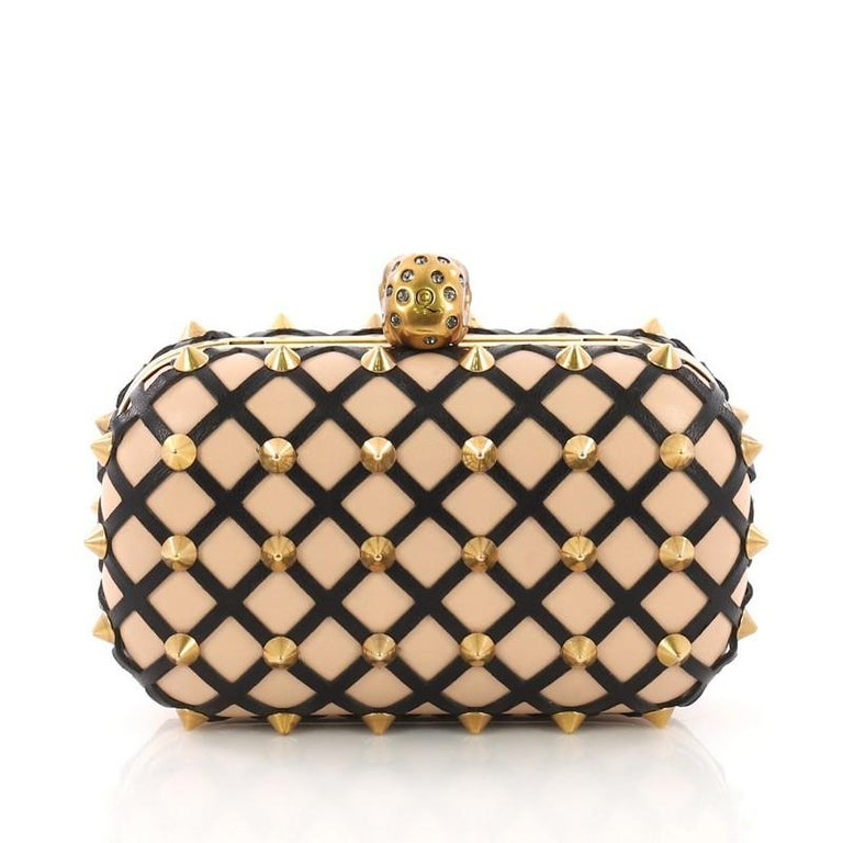 Alexander McQueen Skull Box Clutch Studded Leather Cut Leather Small In Good Condition For Sale In New York, NY