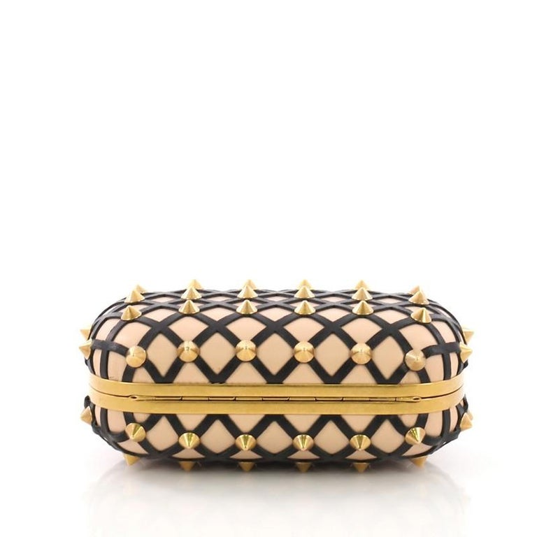 Women's or Men's Alexander McQueen Skull Box Clutch Studded Leather Cut Leather Small For Sale