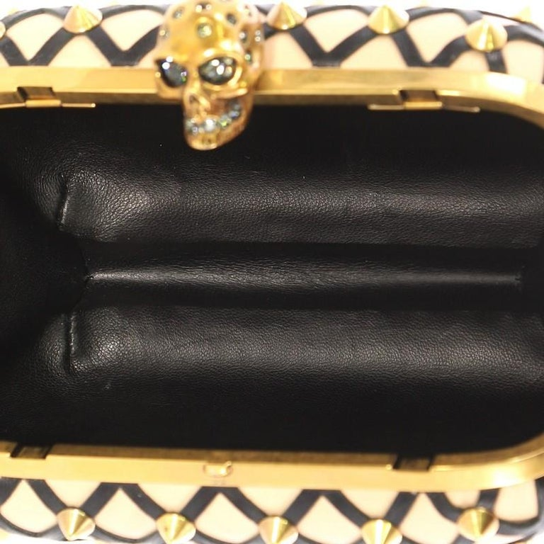 Alexander McQueen Skull Box Clutch Studded Leather Cut Leather Small For Sale 1