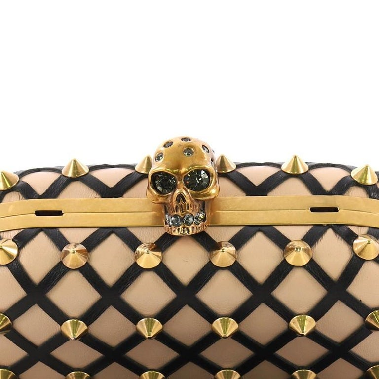 Alexander McQueen Skull Box Clutch Studded Leather Cut Leather Small For Sale 2