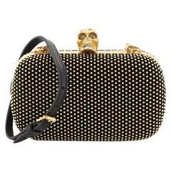 Alexander McQueen Skull Box Convertible Clutch Studded Suede Small