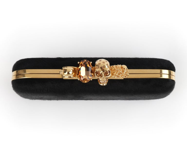 ALEXANDER McQUEEN Skull & Citrine Black Pony Hair Knuckle Duster Box Clutch In Excellent Condition For Sale In Thiensville, WI