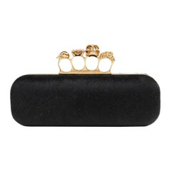 ALEXANDER McQUEEN Skull & Citrine Black Pony Hair Knuckle Duster Box Clutch