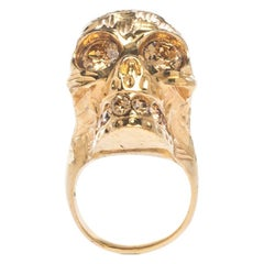 Alexander McQueen Skull Crystal Textured Gold Tone Cocktail Ring Size 52