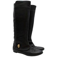 Alexander McQueen Skull Detail Black Leather Flat Boots 38