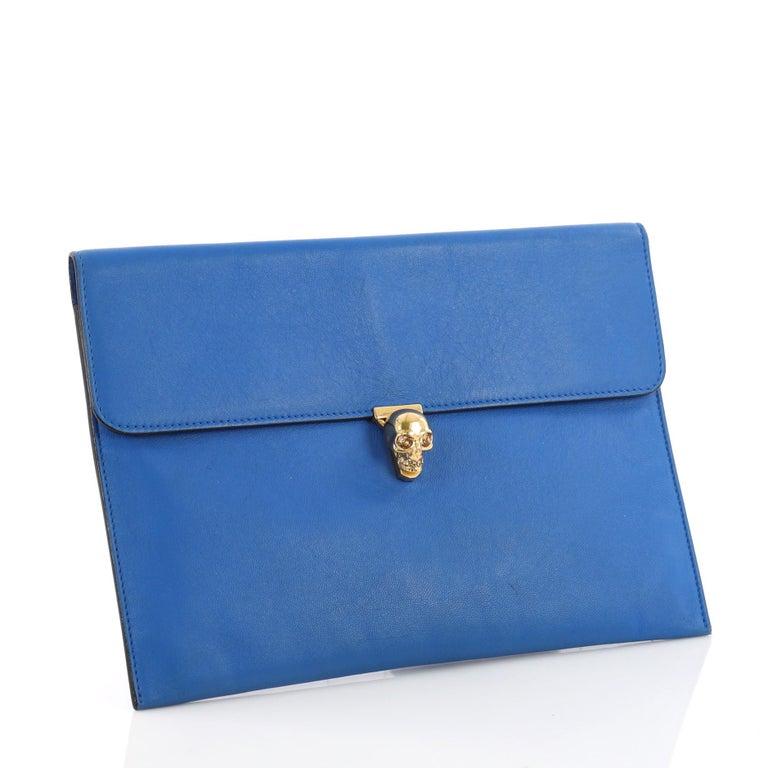 Blue Alexander McQueen Skull Envelope Clutch Leather For Sale
