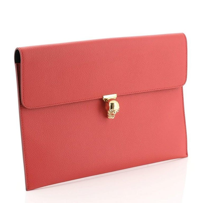 Red Alexander McQueen Skull Envelope Clutch Leather For Sale