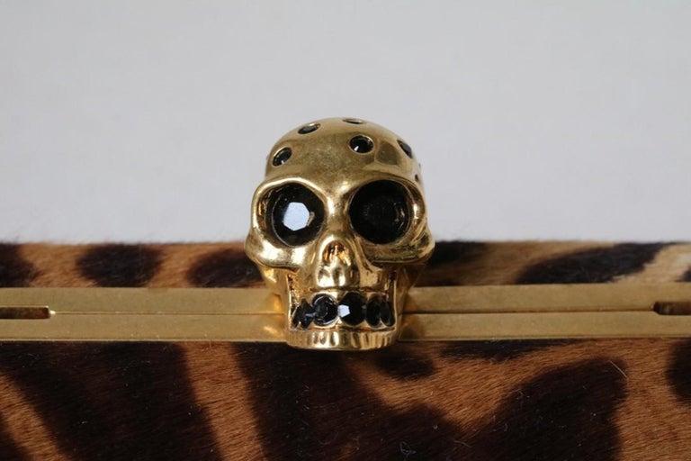 Black Alexander McQueen Skull Ocelot-Print Calf Hair Box Clutch  For Sale