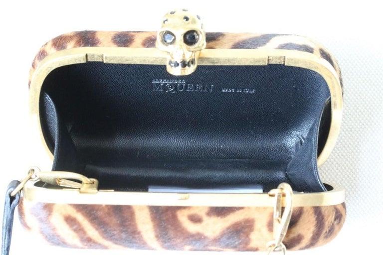 Alexander McQueen Skull Ocelot-Print Calf Hair Box Clutch  For Sale 2