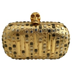 Alexander McQueen Skull Studded Metallic Leather Box Clutch