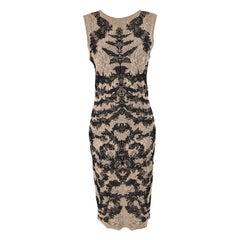 Alexander McQueen Sleeveless Nude & Black Jacquard Knit Dress L