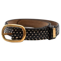 Alexander McQueen Snakeskin Skinny Belt with Golden Buckle