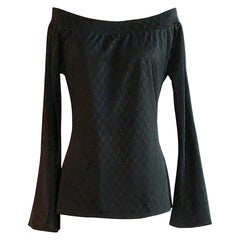 Alexander McQueen Spring 2000 Runway Black Chevron Off the Shoulder Top