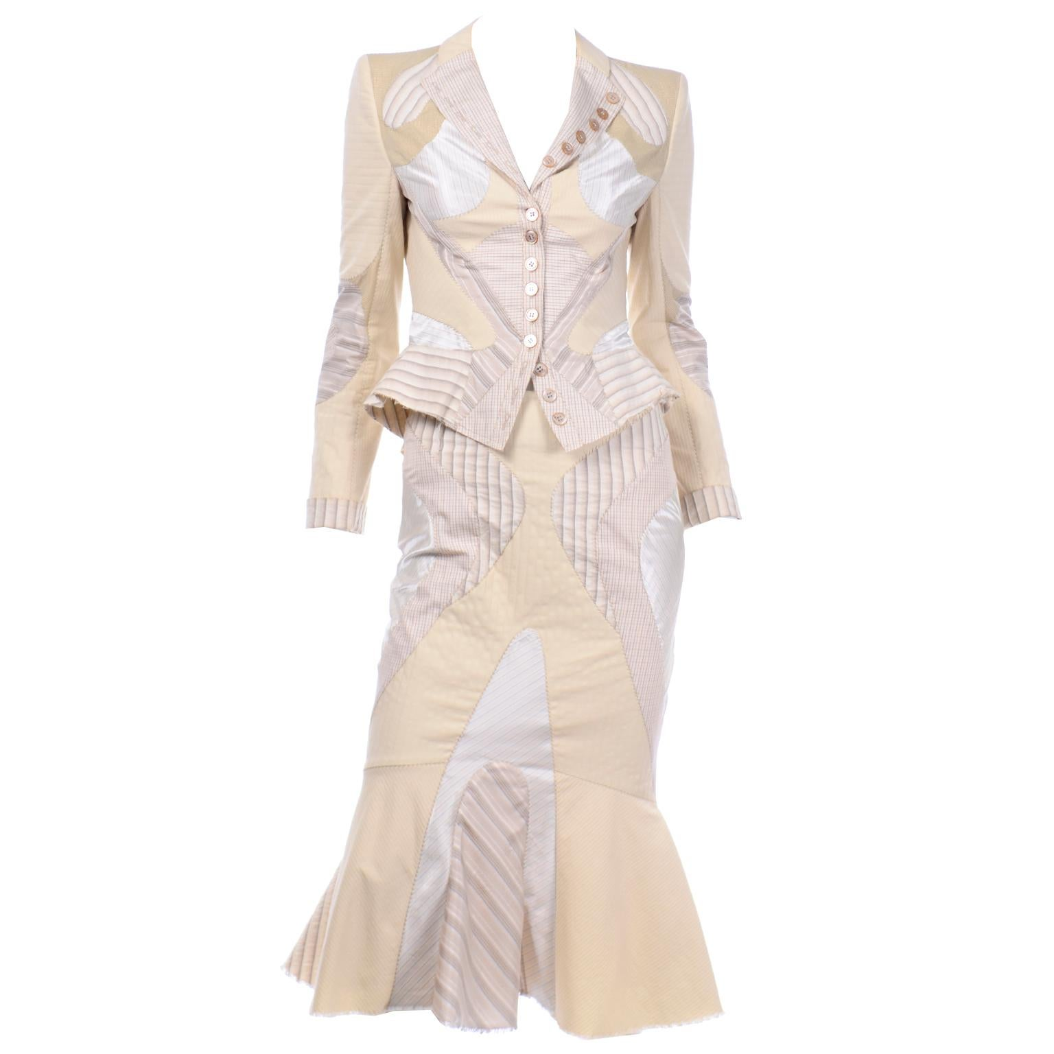 Alexander McQueen Spring 2004 Deliverance Patchwork 2pc Skirt & Jacket Outfit