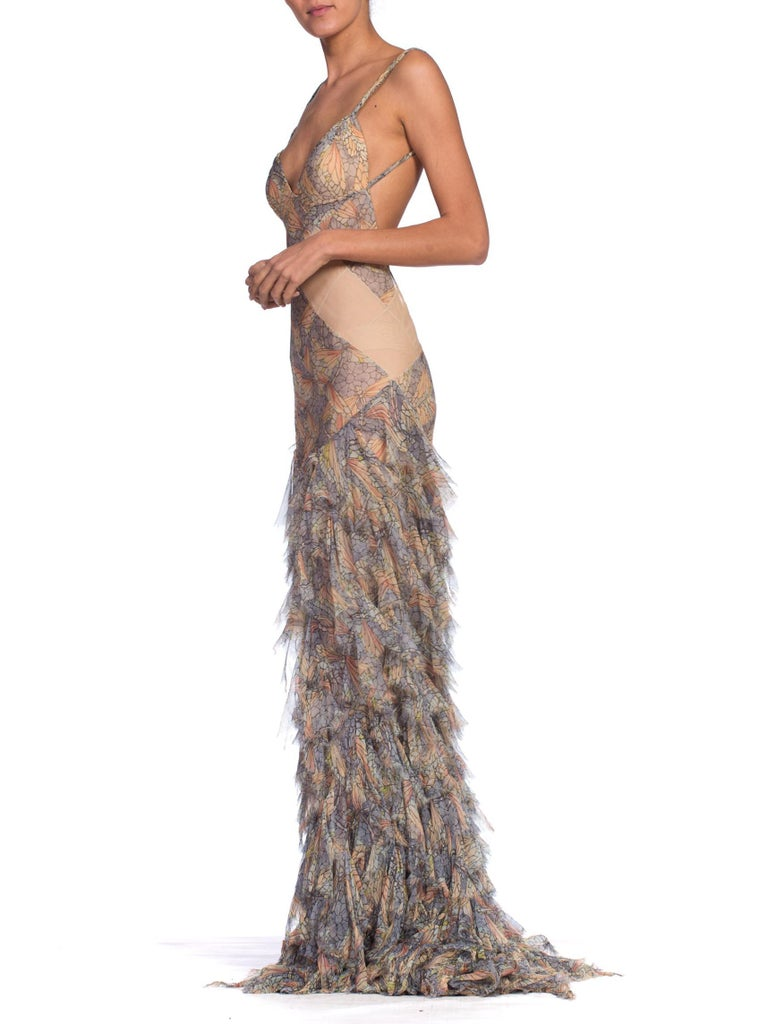 Brown Alexander McQueen Spring 2004 Shredded Bias Silk Chiffon Backless Gown For Sale