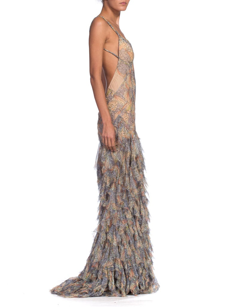 Alexander McQueen Spring 2004 Shredded Bias Silk Chiffon Backless Gown In Excellent Condition For Sale In New York, NY