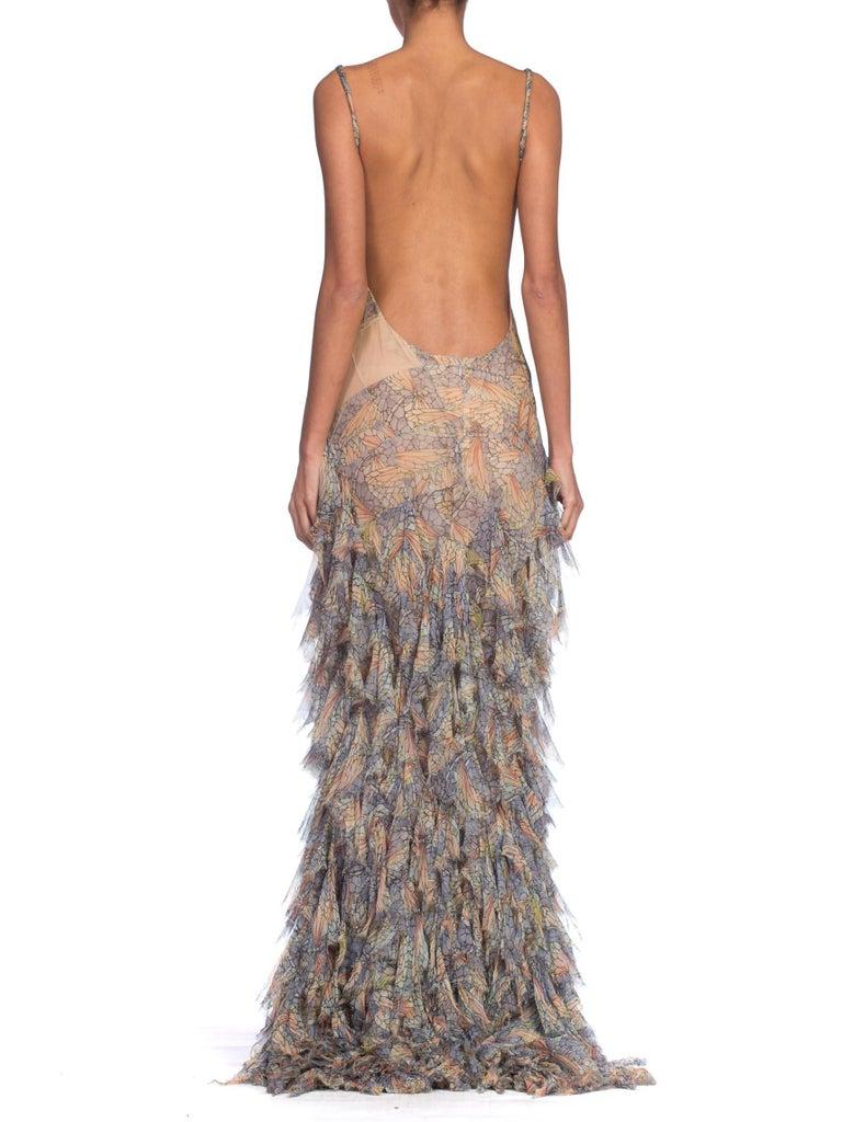 Women's Alexander McQueen Spring 2004 Shredded Bias Silk Chiffon Backless Gown For Sale