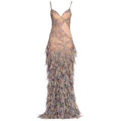 Alexander McQueen Spring 2004 Shredded Bias Silk Chiffon Backless Gown