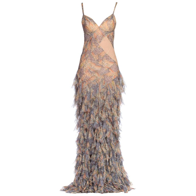 Alexander McQueen Spring 2004 Shredded Bias Silk Chiffon Backless Gown For Sale