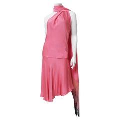 Alexander McQueen SS 2008 Silk Halter Dress with Fringe Trim