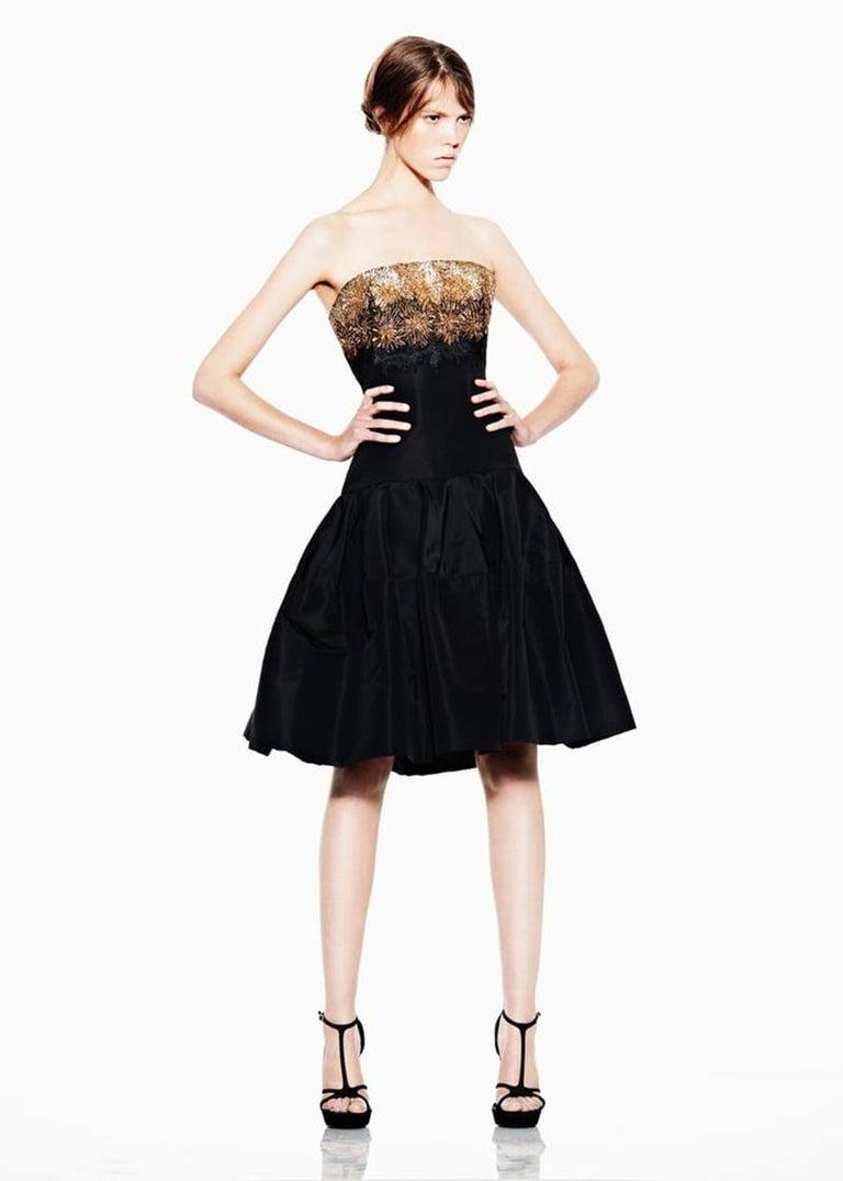 Women's ALEXANDER MCQUEEN Strapless Embellished Black Dress For Sale