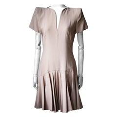 Alexander McQueen Structured-Shoulder Crepe Dress