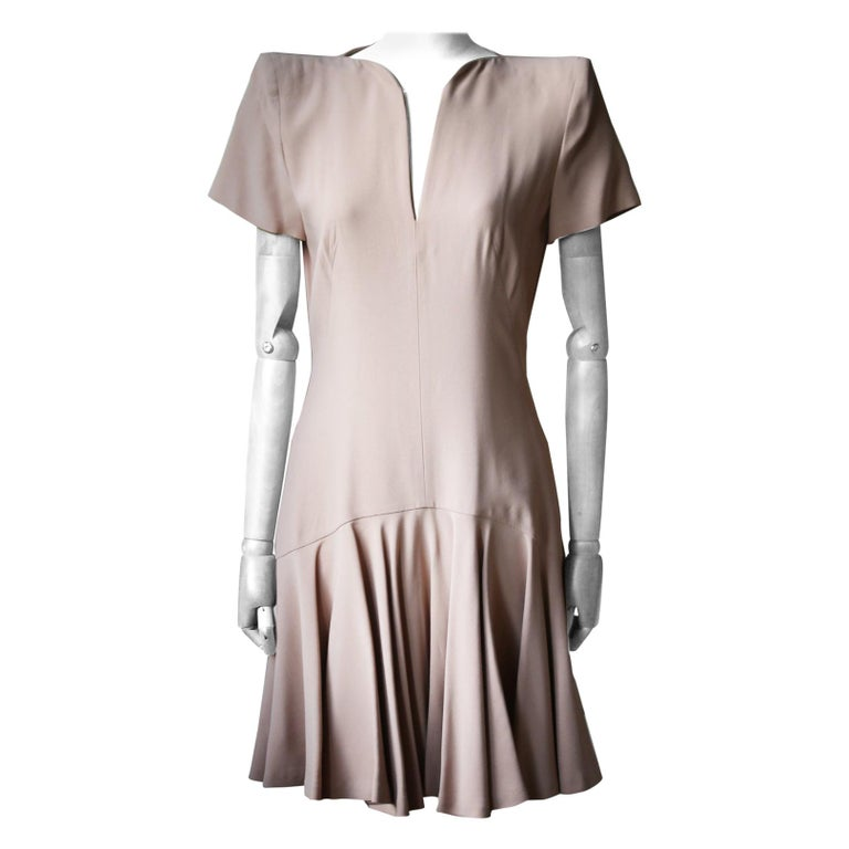 Alexander McQueen Structured-Shoulder Crepe Dress For Sale