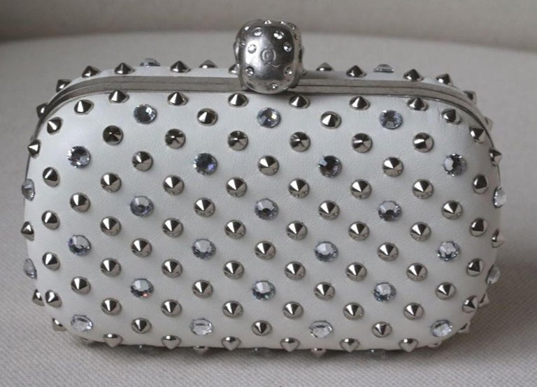Alexander McQueen Stud & Crystal Skull-Clasp Clutch Bag For Sale 1